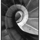 spiral staircase black and white film by rudy pessina