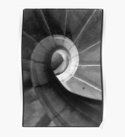 spiral staircase black and white film Poster