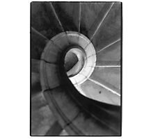 spiral staircase black and white film Photographic Print