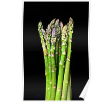 Green asparagus on black Poster