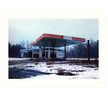 Dreary Day Gas Station Blues Art Print
