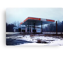 Dreary Day Gas Station Blues Canvas Print