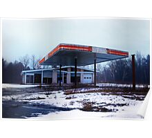 Dreary Day Gas Station Blues Poster