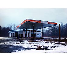 Dreary Day Gas Station Blues Photographic Print