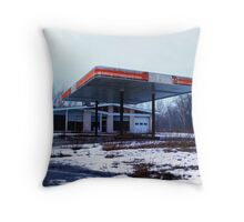 Dreary Day Gas Station Blues Throw Pillow