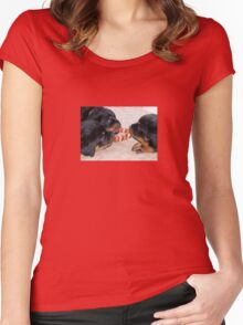Three Rottweiler Puppies In A Tug Of War Women's Fitted Scoop T-Shirt