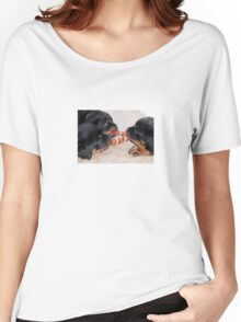 Three Rottweiler Puppies In A Tug Of War Women's Relaxed Fit T-Shirt