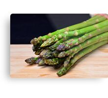 Green asparagus on wood  Metal Print