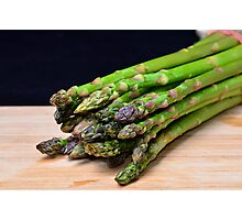 Green asparagus on wood  Photographic Print
