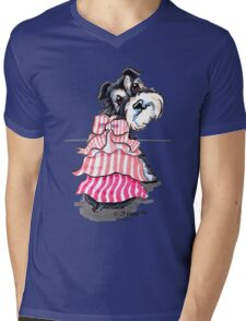 Girly Schnauzer Mens V-Neck T-Shirt