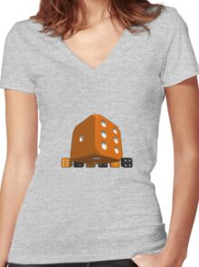 Big Dice Women's Fitted V-Neck T-Shirt