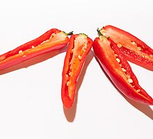 Sliced Red Hot Chillies by Michael Hollinshead