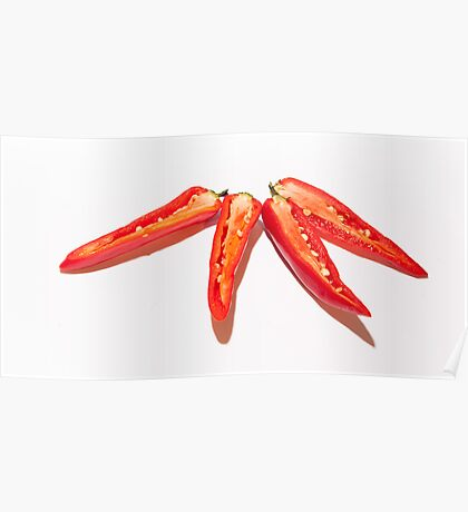 Sliced Red Hot Chillies Poster
