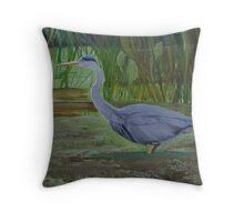 Blue Heron Wades in Swamp Throw Pillow
