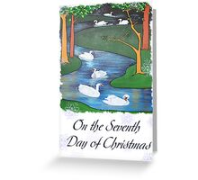 Snowflakes and Swans The Seventh Day of Christmas Greeting Card