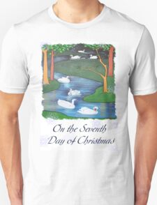 Snowflakes and Swans The Seventh Day of Christmas T-Shirt