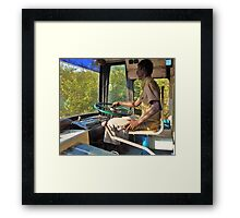 driving a bus bare feet Framed Print