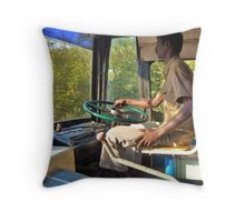 driving a bus bare feet Throw Pillow