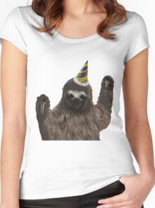Party Animal - Sloth Women's Fitted Scoop T-Shirt
