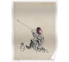 A traveler seated wearing a robe boots and rounded top conical hat smoking a long pipe a small bag is on the ground next to his feet 001 Poster