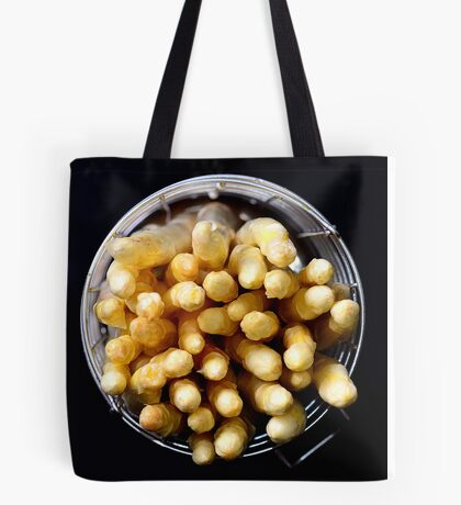White asparagus on black Tote Bag