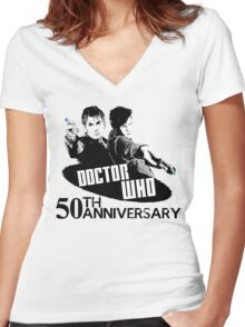 50th anniversary spoilers Women's Fitted V-Neck T-Shirt
