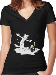 Jon and Ghost Women's Fitted V-Neck T-Shirt