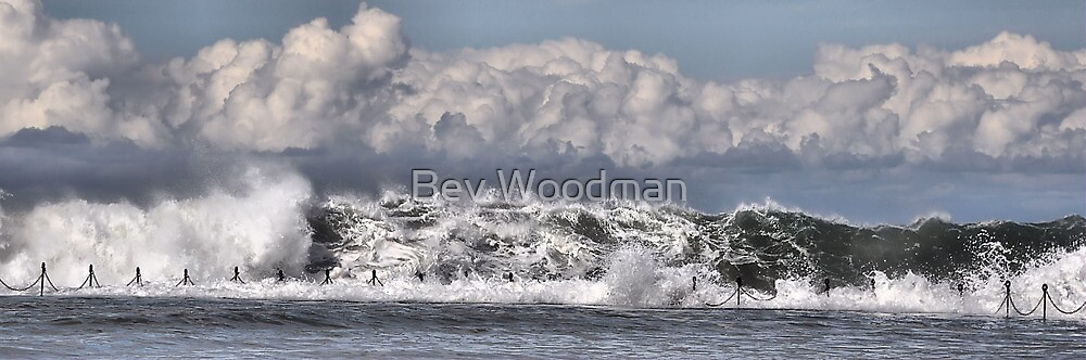 Moody Seas over the Canoe Pool - Newcastle Beach NSW Australia by Bev Woodman