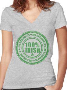 St Patricks Day 100% Irish Stamp Women's Fitted V-Neck T-Shirt