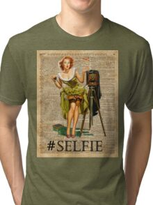 Pin Up Girl Making #selfie Vintage Dictionary Art Tri-blend T-Shirt
