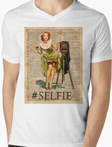 Pin Up Girl Making #selfie Vintage Dictionary Art Mens V-Neck T-Shirt