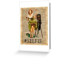 Pin Up Girl Making #selfie Vintage Dictionary Art Greeting Card