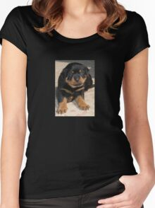 Rottweiler Puppy With Perplexed Facial Expression Women's Fitted Scoop T-Shirt