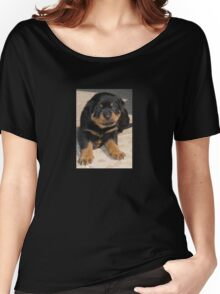 Rottweiler Puppy With Perplexed Facial Expression Women's Relaxed Fit T-Shirt