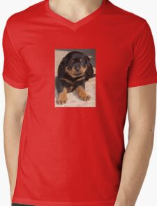 Rottweiler Puppy With Perplexed Facial Expression Mens V-Neck T-Shirt
