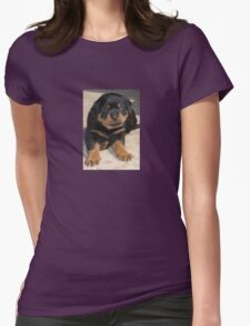 Rottweiler Puppy With Perplexed Facial Expression Womens Fitted T-Shirt