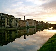 Sun setting on the Arno in Florence by kejube