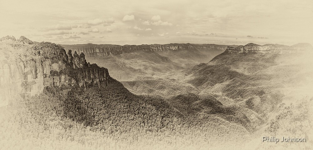 Beauty (Sepia) - Jamison Valley, Blue Mountains World Heritage Area, Katoomba NSW - The HDR Experience by Philip Johnson