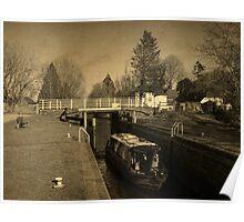 Narrowboat in Kintbury Lock Poster