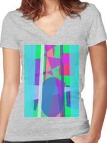 Blue Curtain Women's Fitted V-Neck T-Shirt