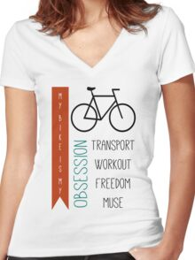 Bicycle obsession Women's Fitted V-Neck T-Shirt