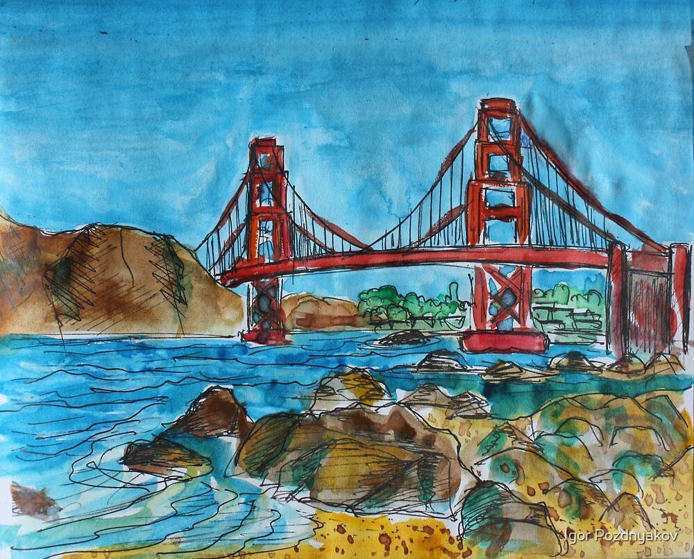 Watercolor Sketch - Golden Gate Bridge. 2013 by Igor Pozdnyakov