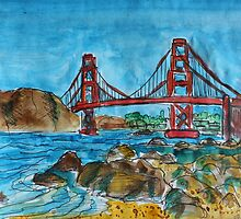 Watercolor Sketch - Golden Gate Bridge. 2013 by Igor Pozdnyakov