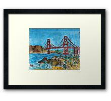 Watercolor Sketch - Golden Gate Bridge. 2013 Framed Print