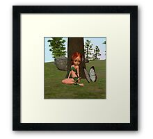 Forest Elf Girl and Butterfly Framed Print