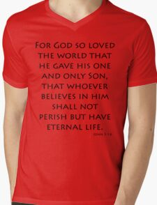 John 3:16 - New International (Bible Verses) Mens V-Neck T-Shirt
