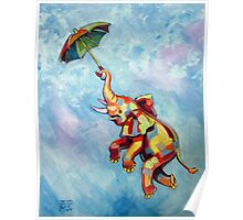 Umbrella Elephant Poster