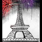Eiffel Tower black and white fire works by KimiStMarie