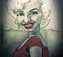 Marilyn Monroe Cartoon black white and red by KimiStMarie