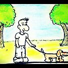 Cartoon man walking his dog in a park by KimiStMarie